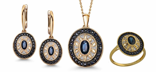 Komplet biżuterii pr.585 z brylantami i szafirami