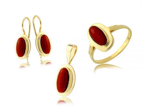 Komplet biżuterii złotej pr. 585 z koralem