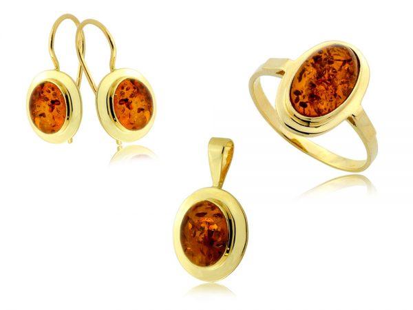 Komplet biżuterii złotej pr. 585 z bursztynem
