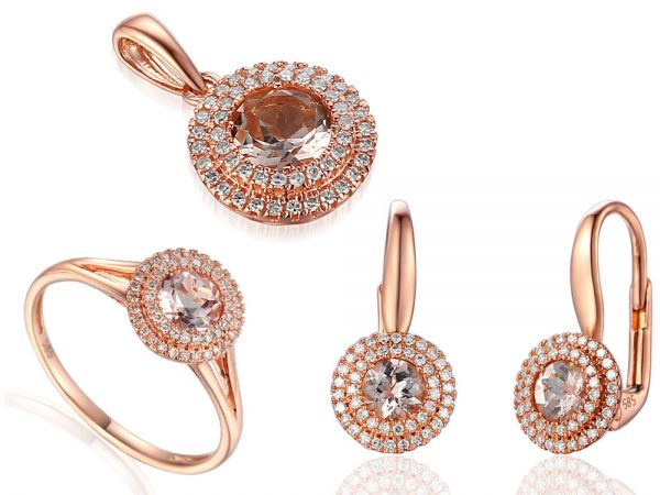 Komplet biżuterii pr. 585 z morganitami i brylantami