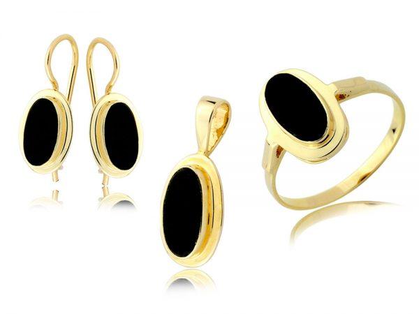 Komplet biżuterii złotej pr. 585 z onyksem