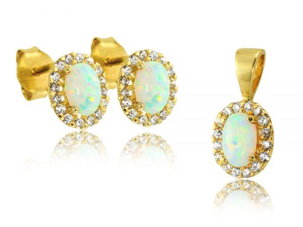 Komplet biżuterii złotej pr. 585 z opalem