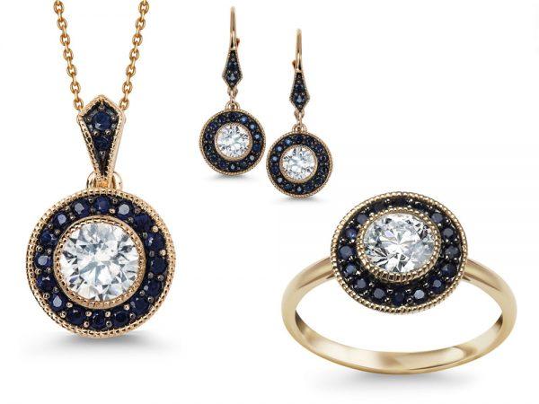 Komplet biżuterii pr. 585 z szafirami i topazem
