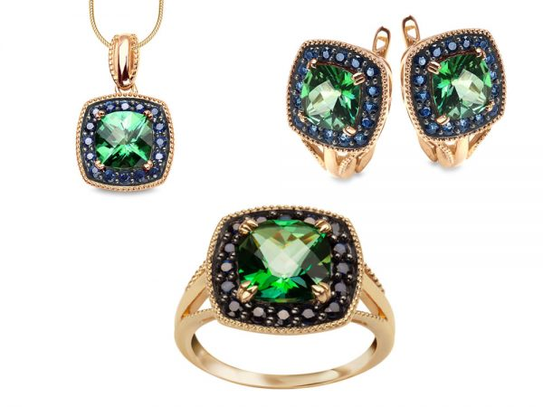 Komplet biżuterii z żółtego złota pr. 585 z szafirami i zielonymi topazami.
