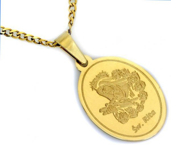 Medalik złoty pr.585 św. Rita