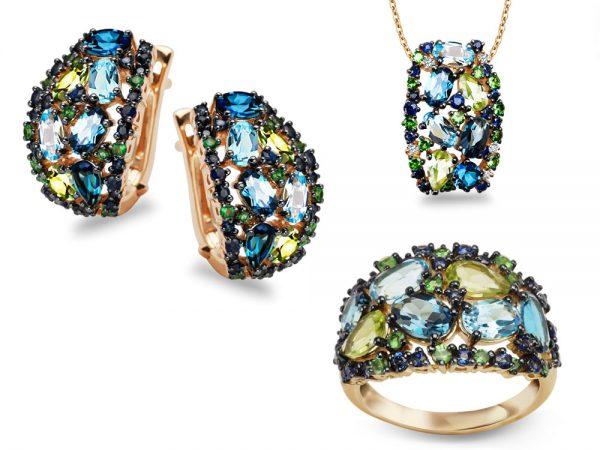 Kpl. biżuterii zł. pr.585 z naturalnymi kamieniami